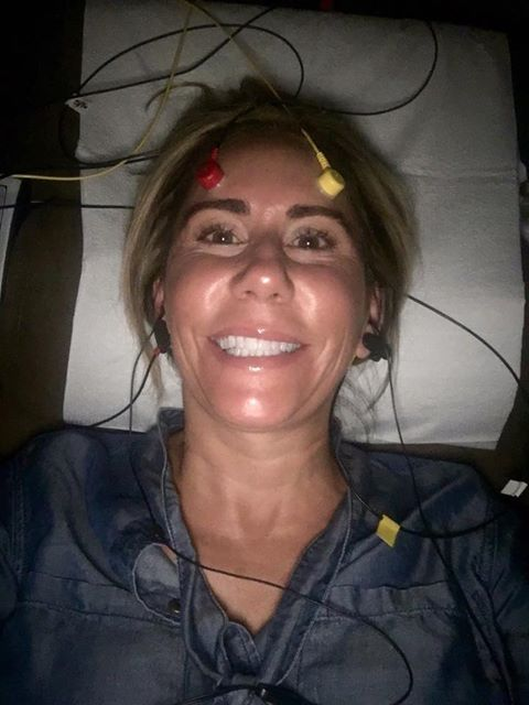 Valerie Thompson, world's fastest woman on a motorcycle having Brainwave Optimization prior to setting the record